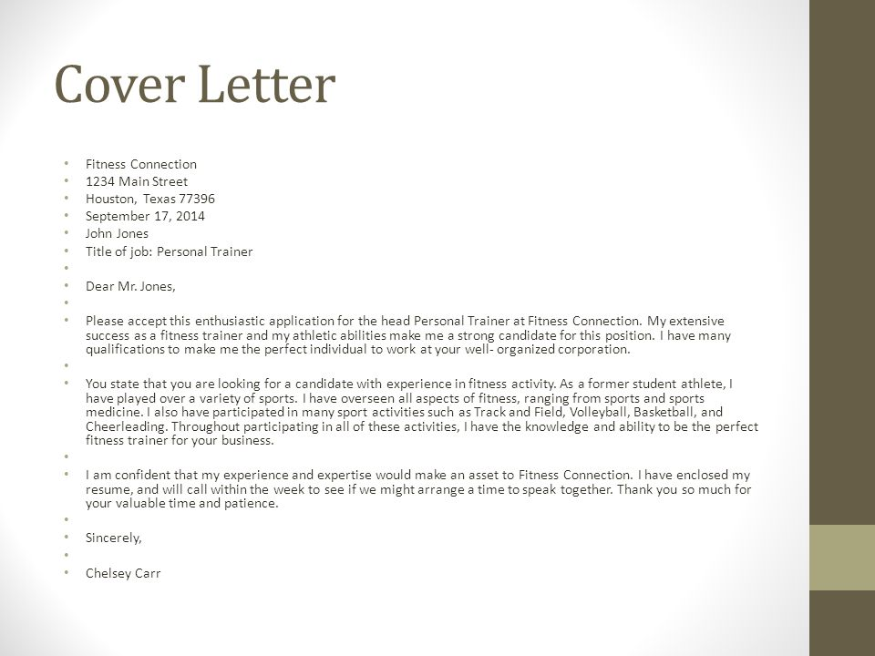 Cover Letter Gym Instructor