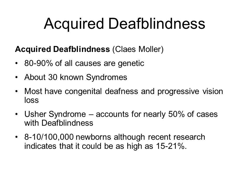 Acquired Deafblindness