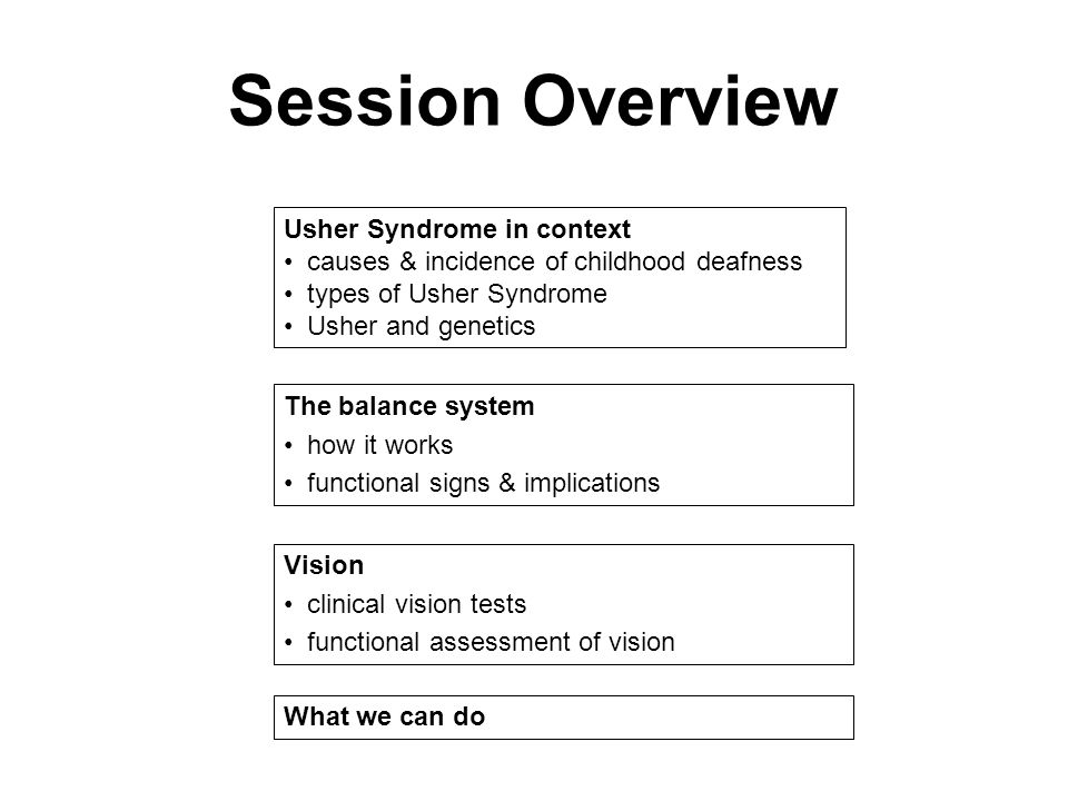 Session Overview Usher Syndrome in context