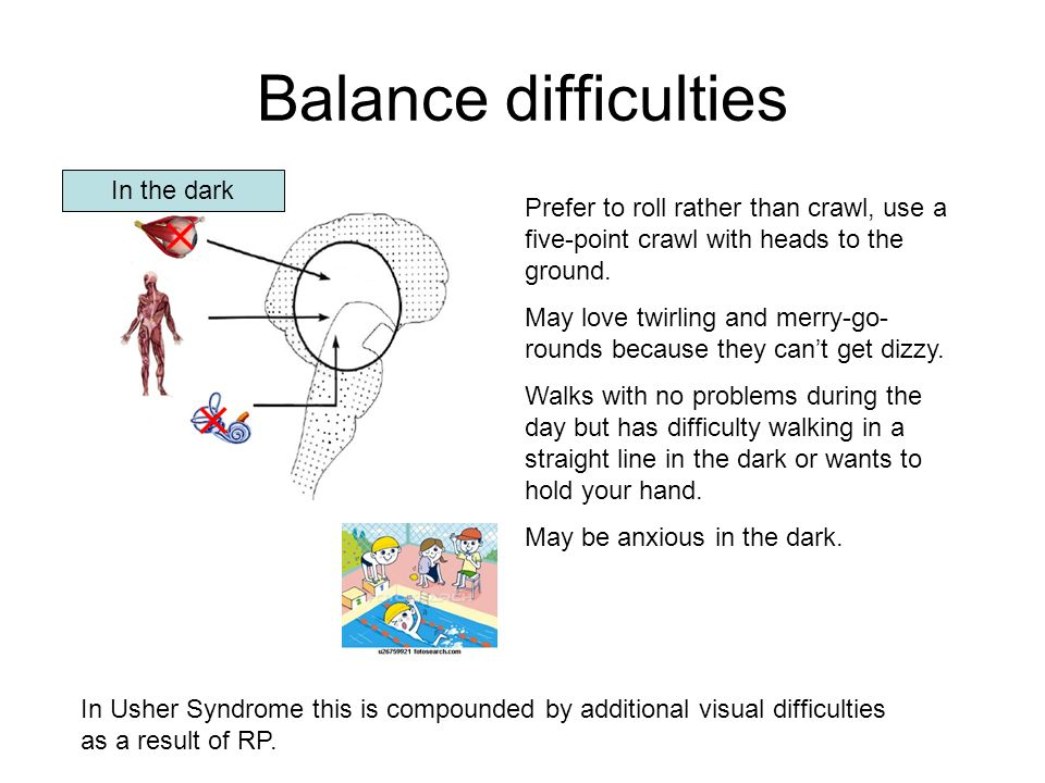 Balance difficulties In the dark