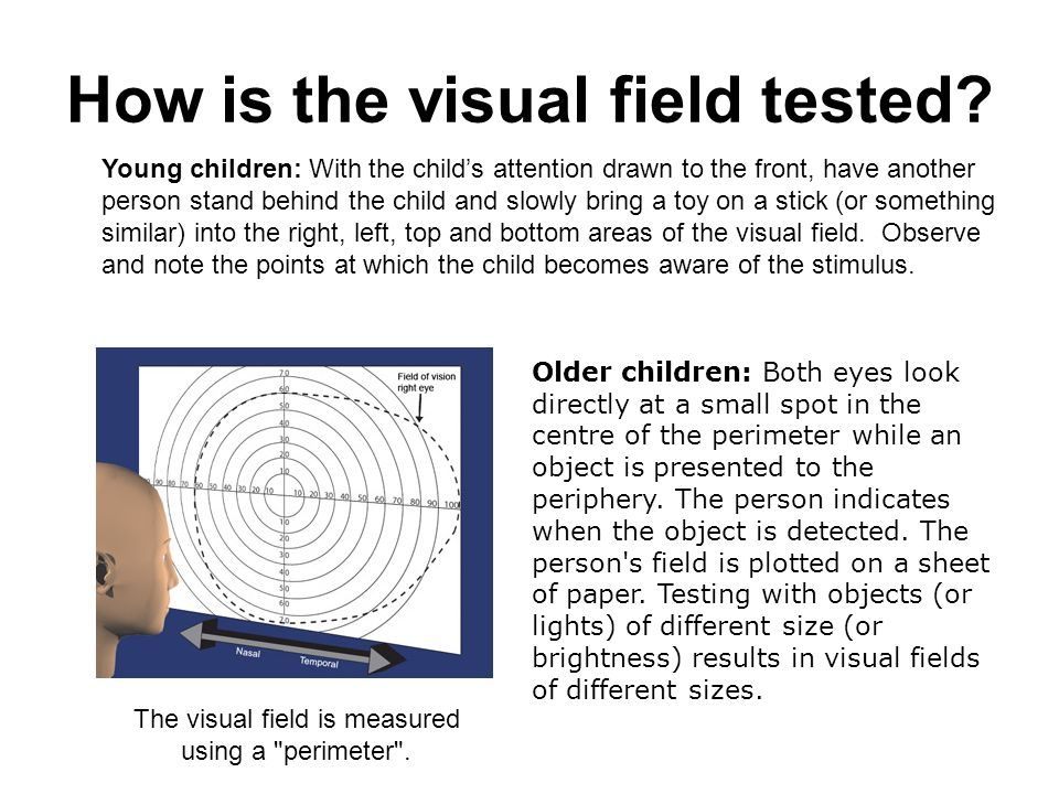 How is the visual field tested