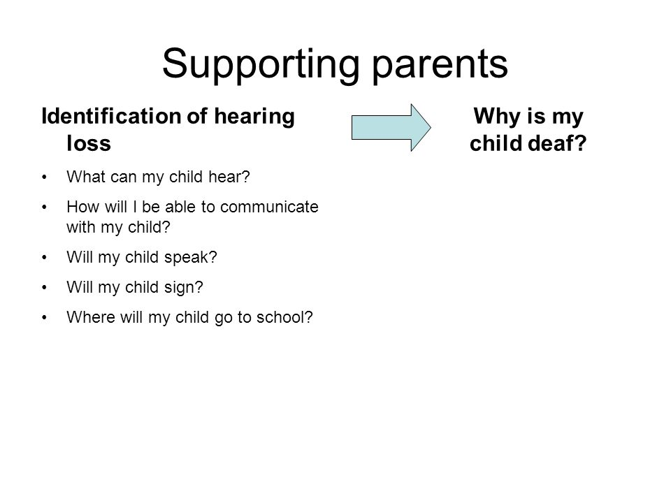 Supporting parents Identification of hearing loss