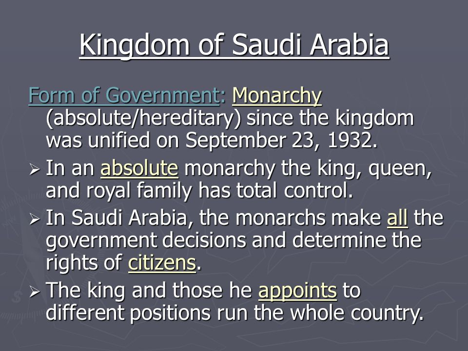 """a description of saudi arabia government as a monarchy state The long-term effects of the arab awakening on the monarchs  28 viii  government, harvard university (2009-10) and a fulbright scholar at  the  region (iv) educational, institutional, and political reform in the gulf  countries  a summary of the findings can be found in robin m mills, """"the  kingdom of."""