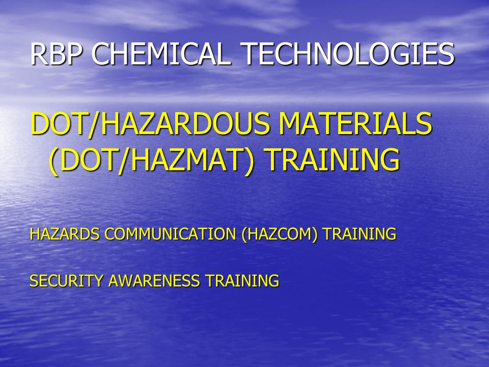 RBP CHEMICAL TECHNOLOGIES