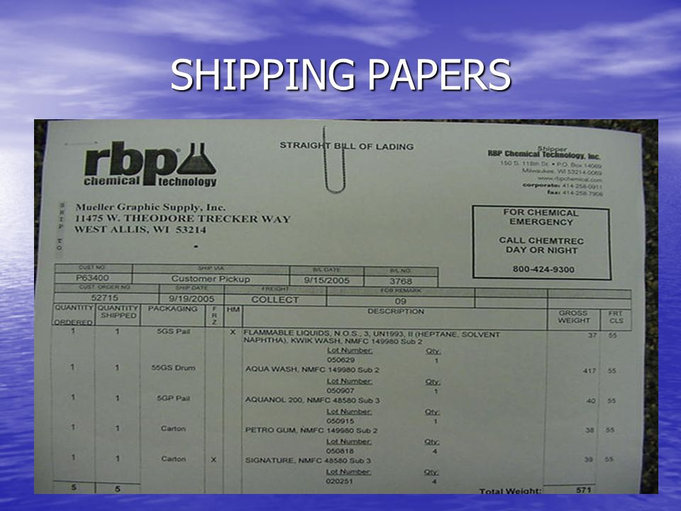 SHIPPING PAPERS