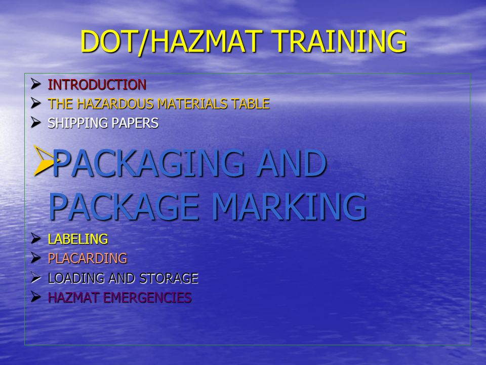 PACKAGING AND PACKAGE MARKING