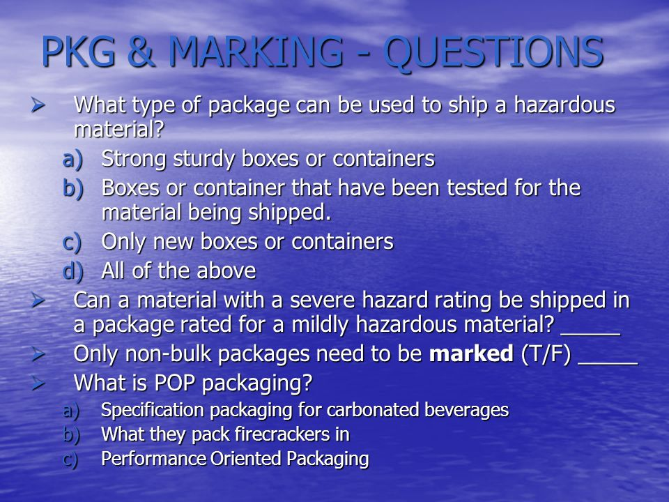 PKG & MARKING - QUESTIONS
