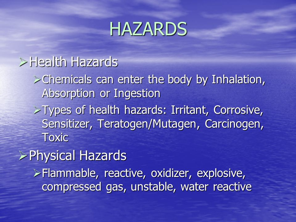 HAZARDS Health Hazards Physical Hazards