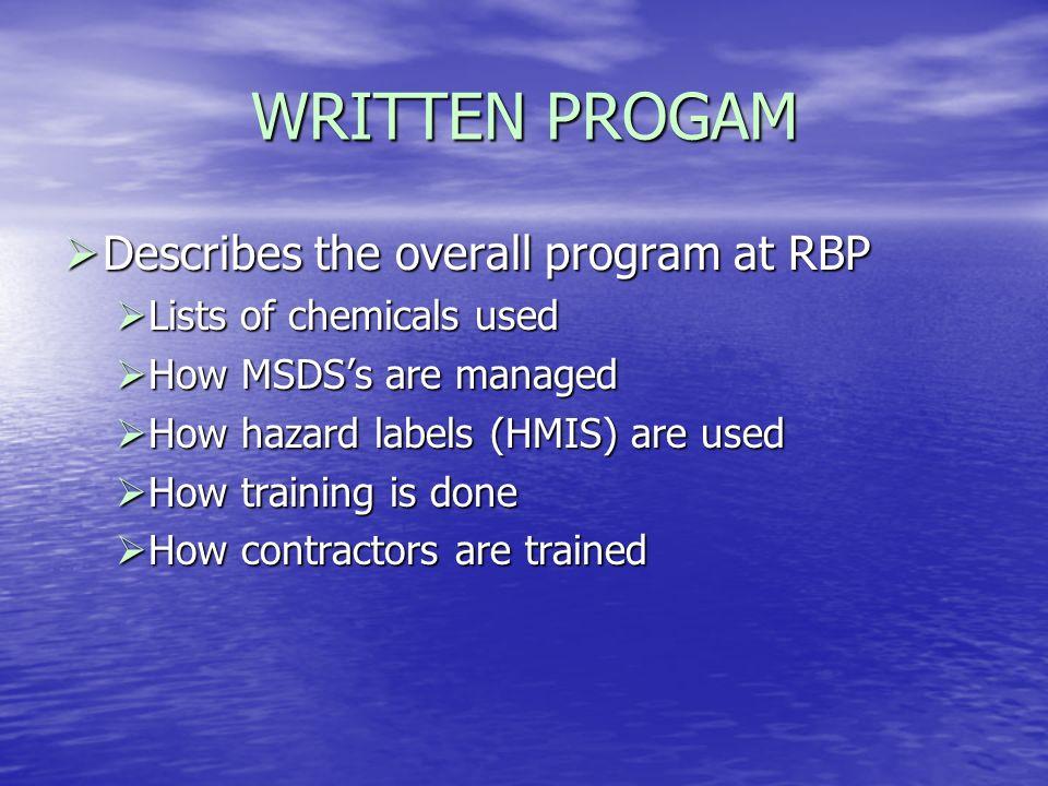 WRITTEN PROGAM Describes the overall program at RBP