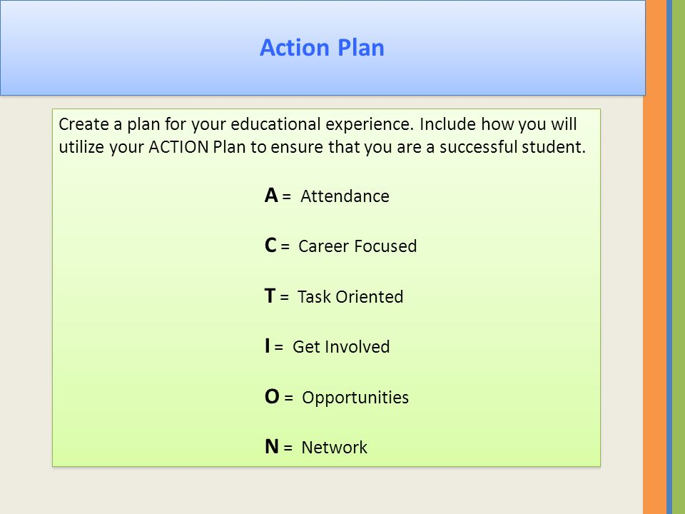 Action Plan Create a plan for your educational experience. Include how you will utilize your ACTION Plan to ensure that you are a successful student.