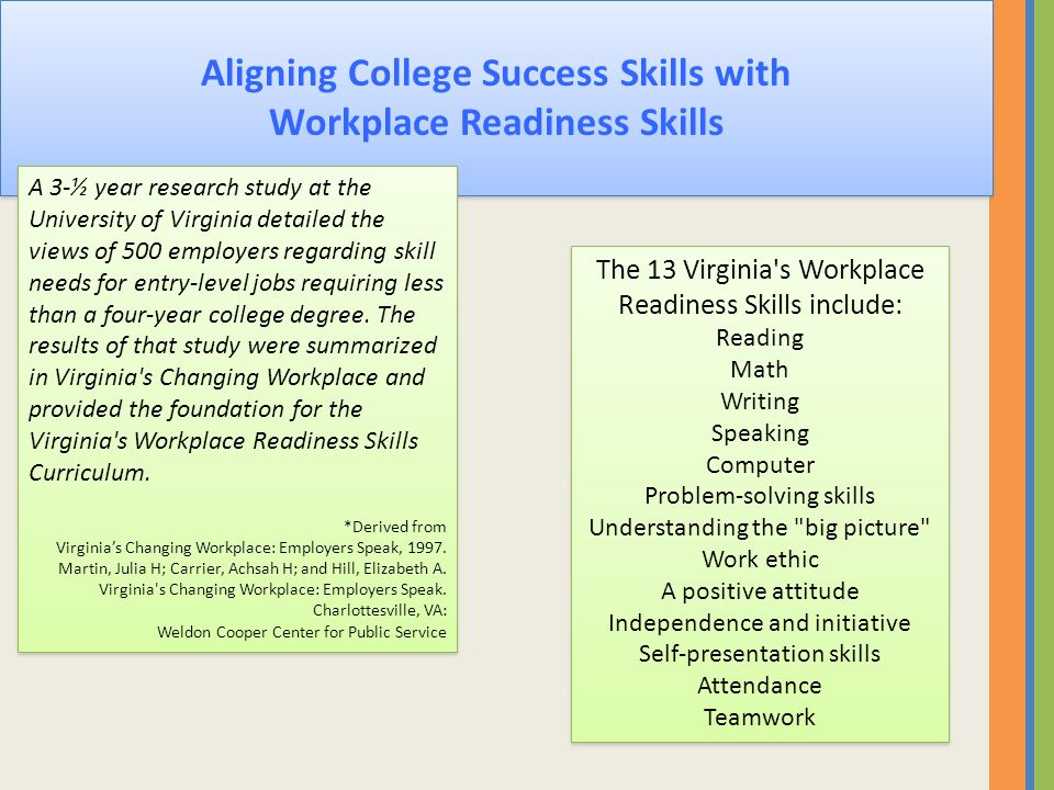 Aligning College Success Skills with Workplace Readiness Skills