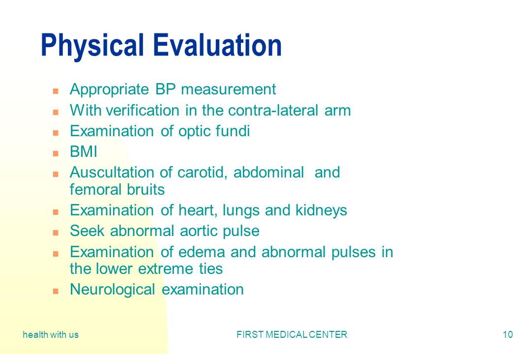 Physical Evaluation Appropriate BP measurement