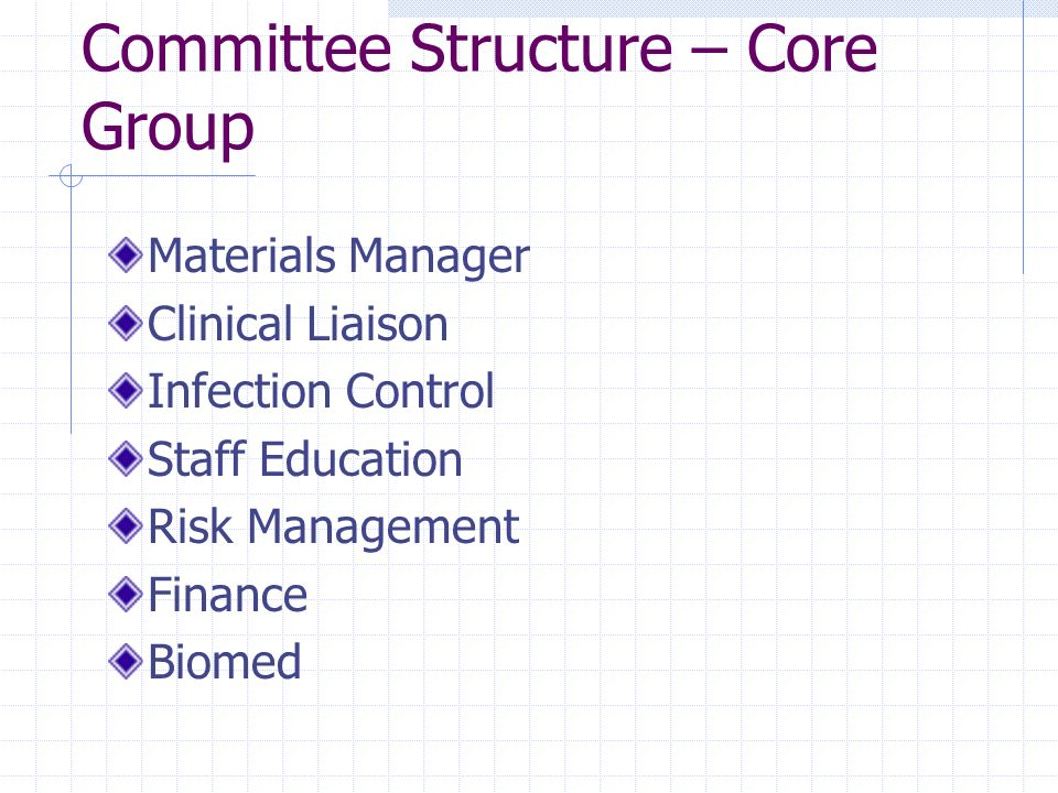 Committee Structure – Core Group