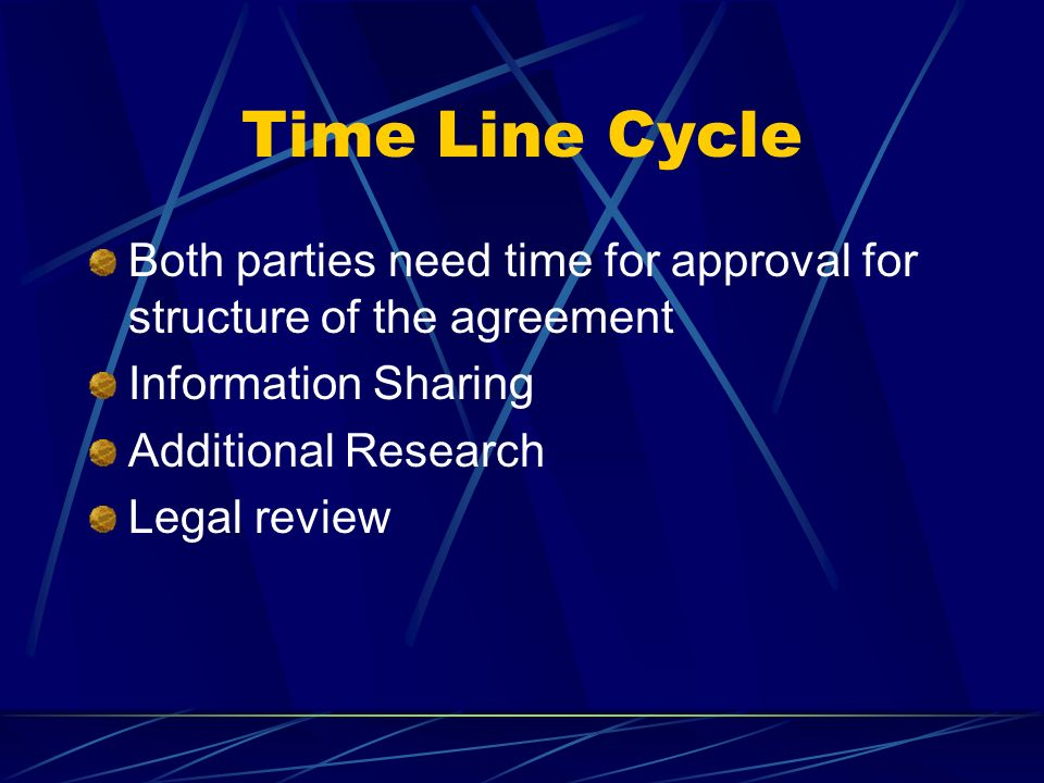 Time Line Cycle Both parties need time for approval for structure of the agreement. Information Sharing.