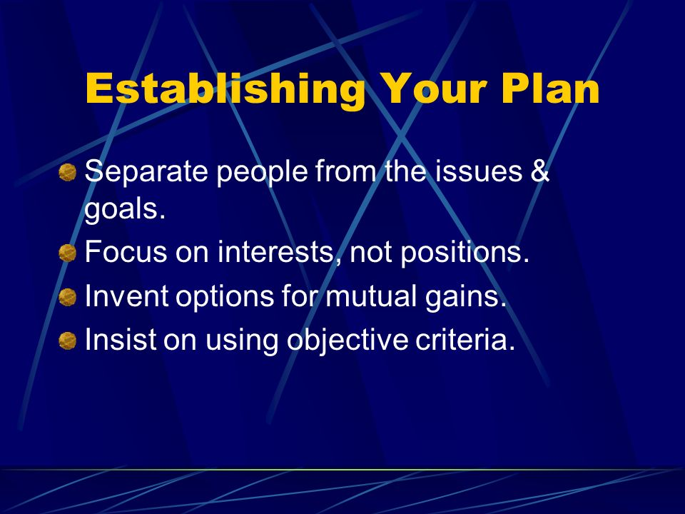 Establishing Your Plan