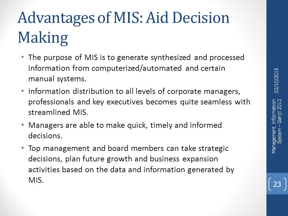benefits of management information system pdf