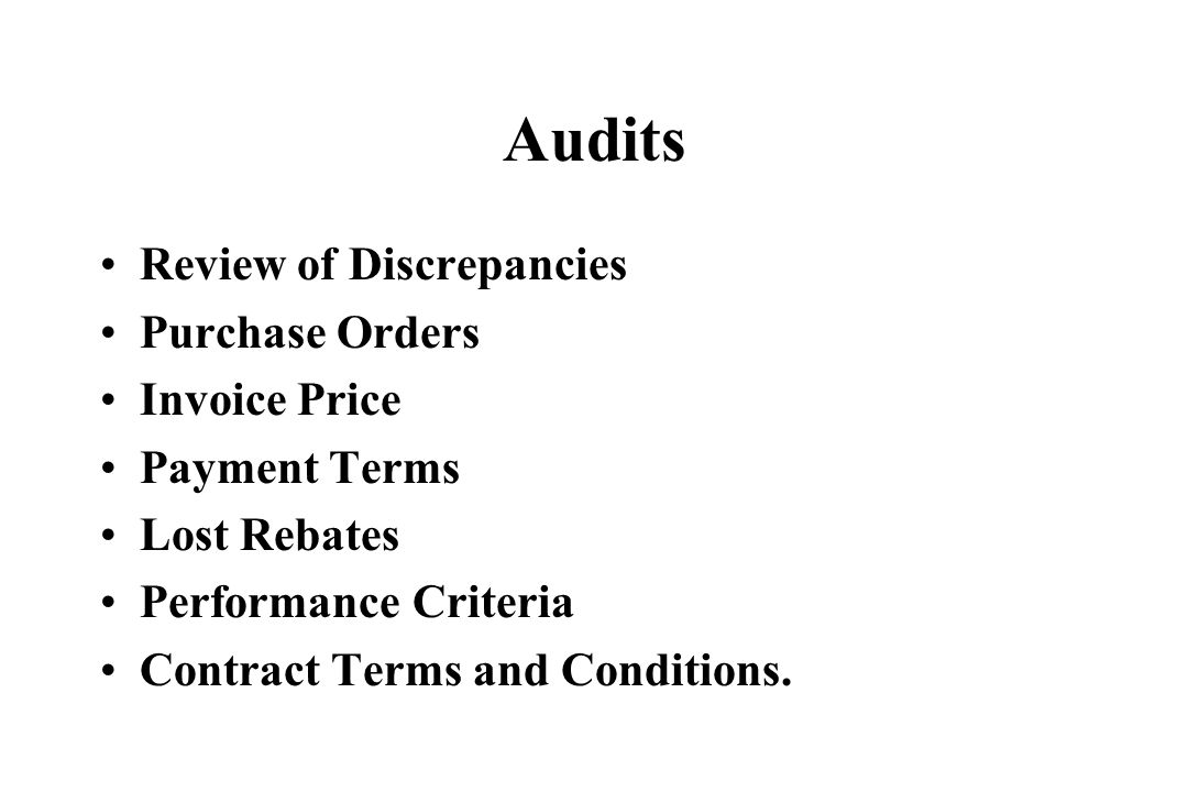 Audits Review of Discrepancies Purchase Orders Invoice Price
