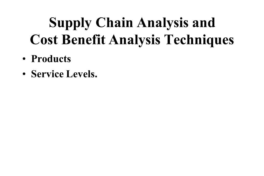 Supply Chain Analysis and Cost Benefit Analysis Techniques