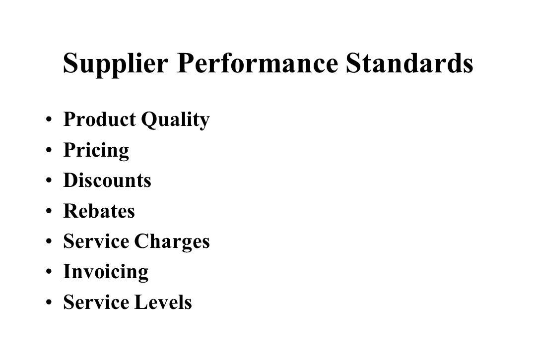 Supplier Performance Standards