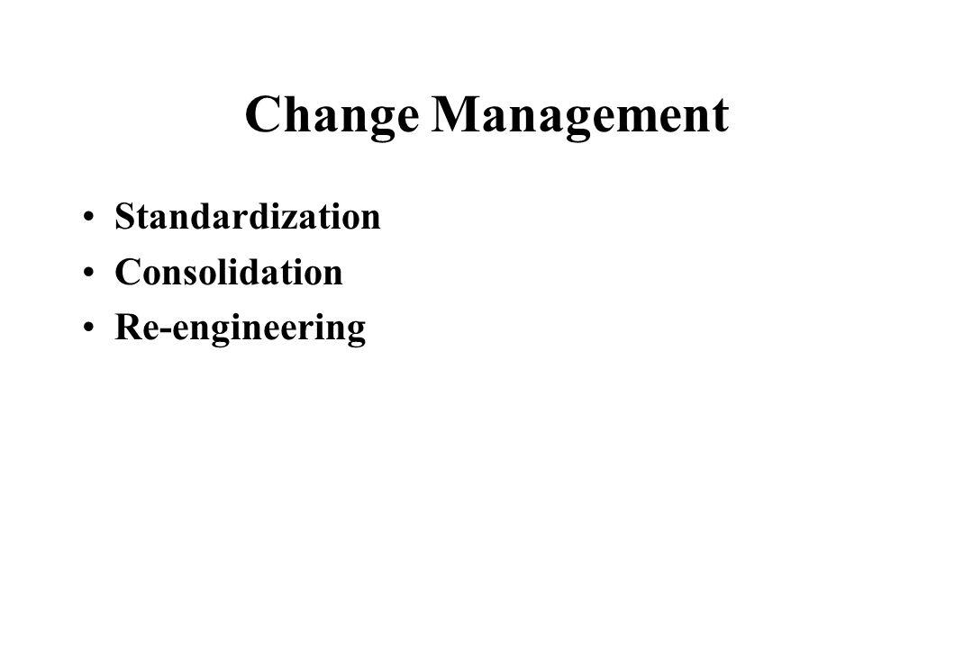Change Management Standardization Consolidation Re-engineering