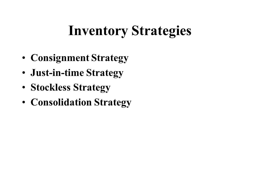 Inventory Strategies Consignment Strategy Just-in-time Strategy