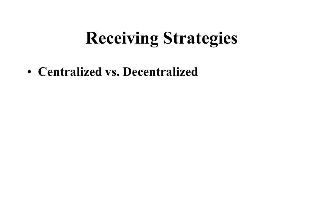 Receiving Strategies Centralized vs. Decentralized