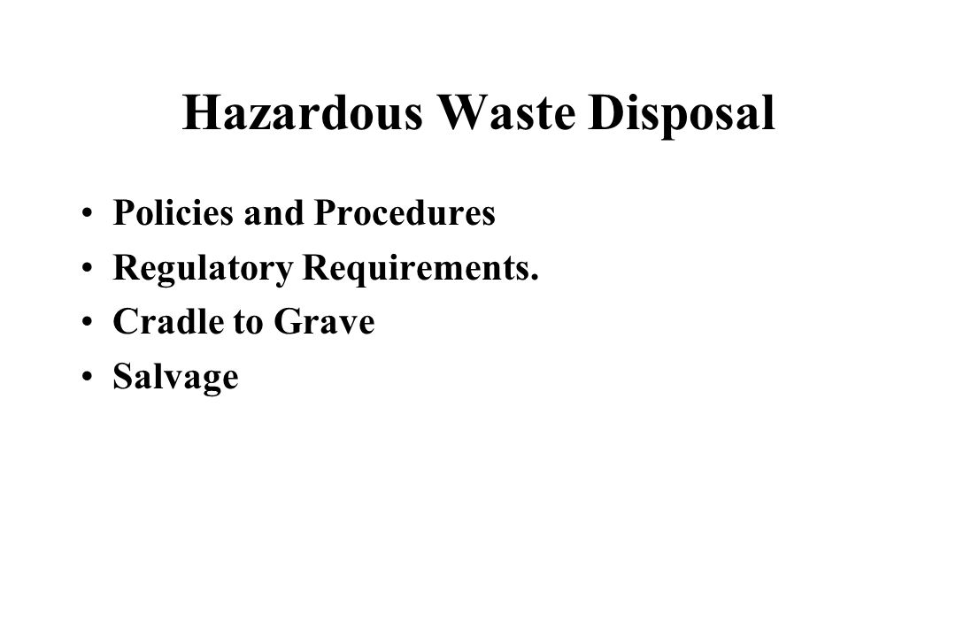 Hazardous Waste Disposal