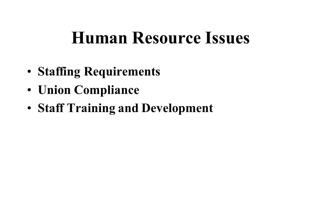 Human Resource Issues Staffing Requirements Union Compliance
