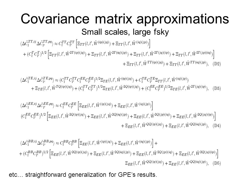 Covariance matrix approximations Small scales, large fsky