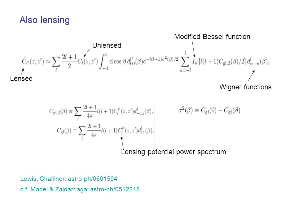Also lensing Modified Bessel function Unlensed Lensed Wigner functions