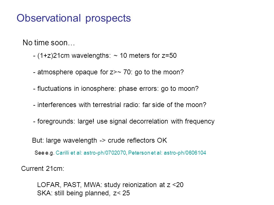Observational prospects