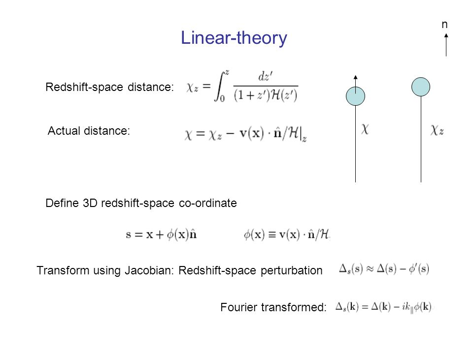 Linear-theory n Redshift-space distance: Actual distance: