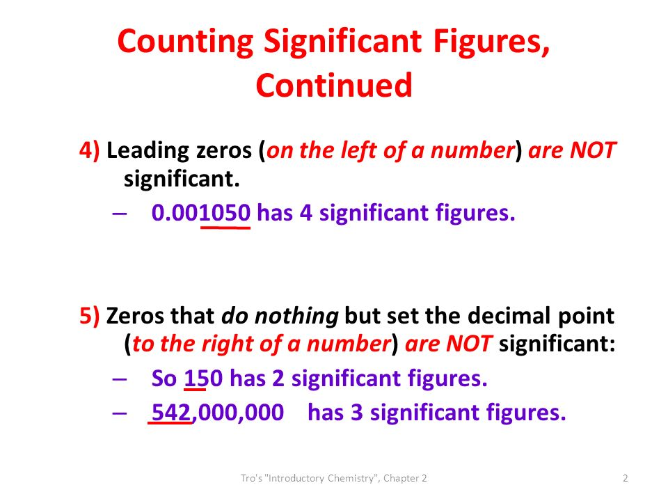 Counting Significant Figures, Continued