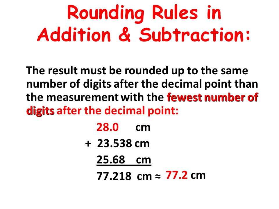 Rounding Rules in Addition & Subtraction: