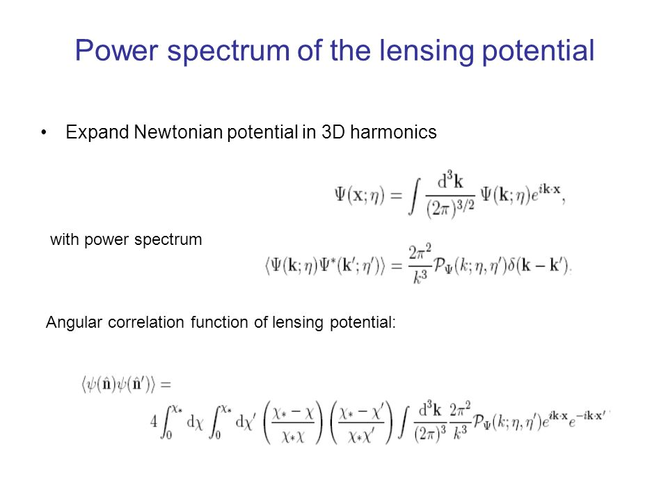 Power spectrum of the lensing potential