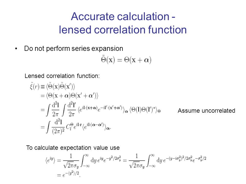 Accurate calculation - lensed correlation function