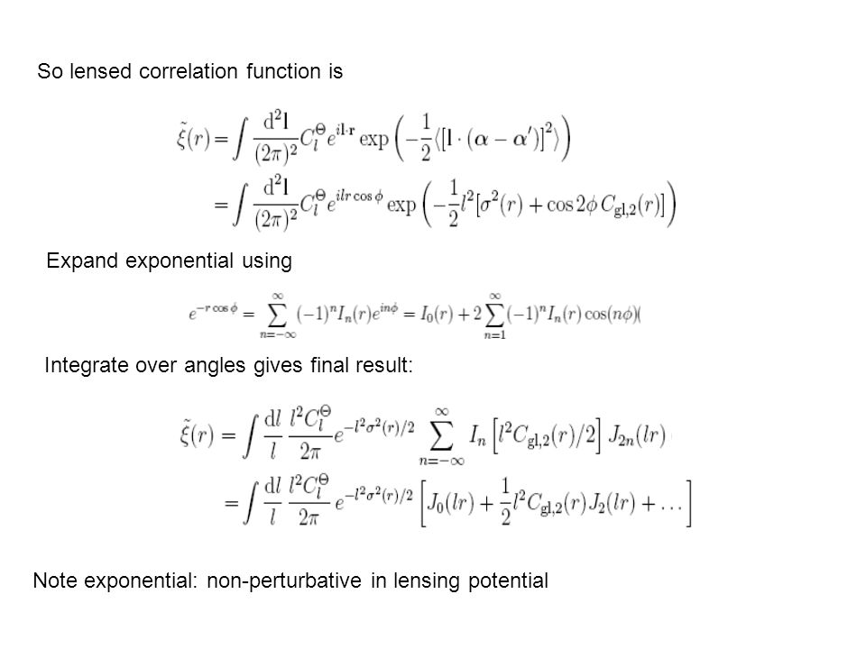 So lensed correlation function is