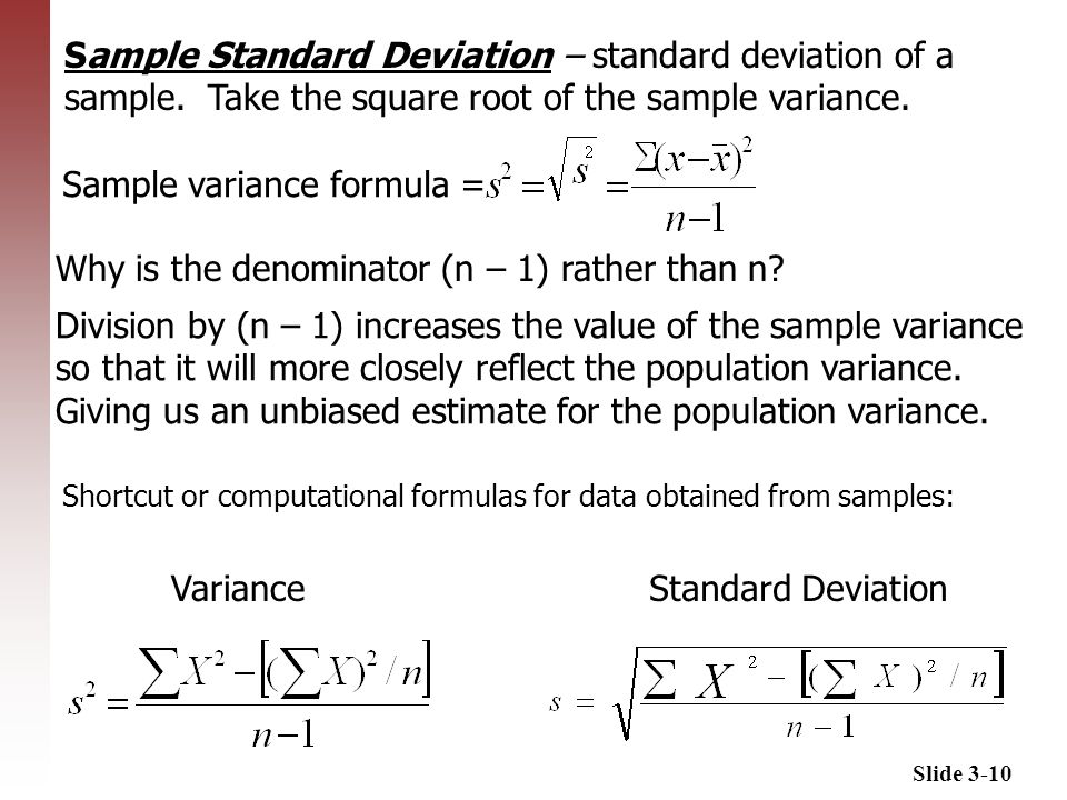 variance calculation To calculate semivariance, you add up the squares of the differences between the sample mean and each observation that falls below the mean, and then divide the result by the number of such observations.