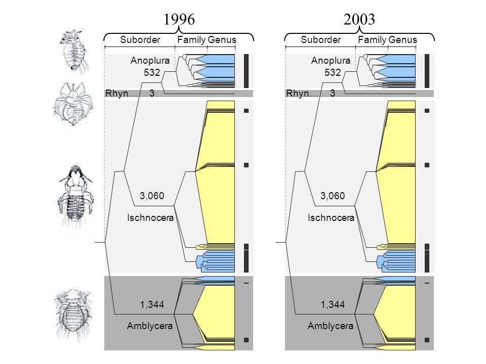 1996 2003 Genus Family Suborder 3 532 3,060 1,344 Amblycera Ischnocera