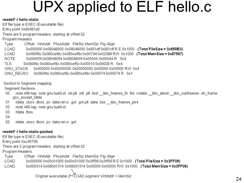 UPX applied to ELF hello.c