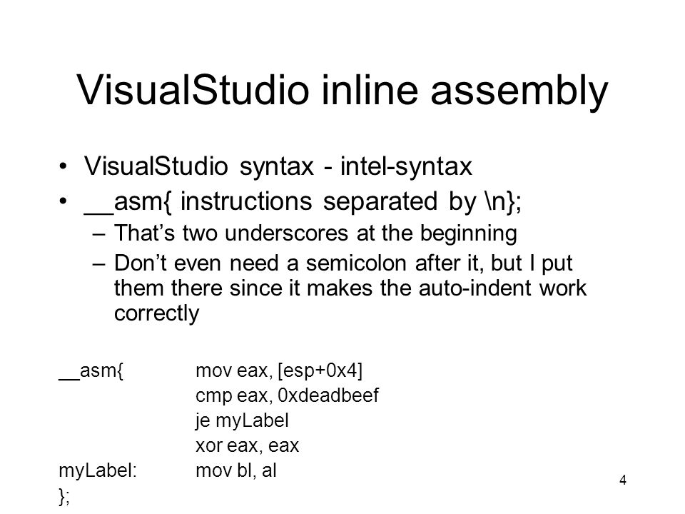 VisualStudio inline assembly