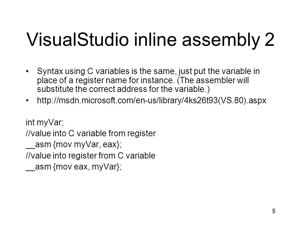 VisualStudio inline assembly 2