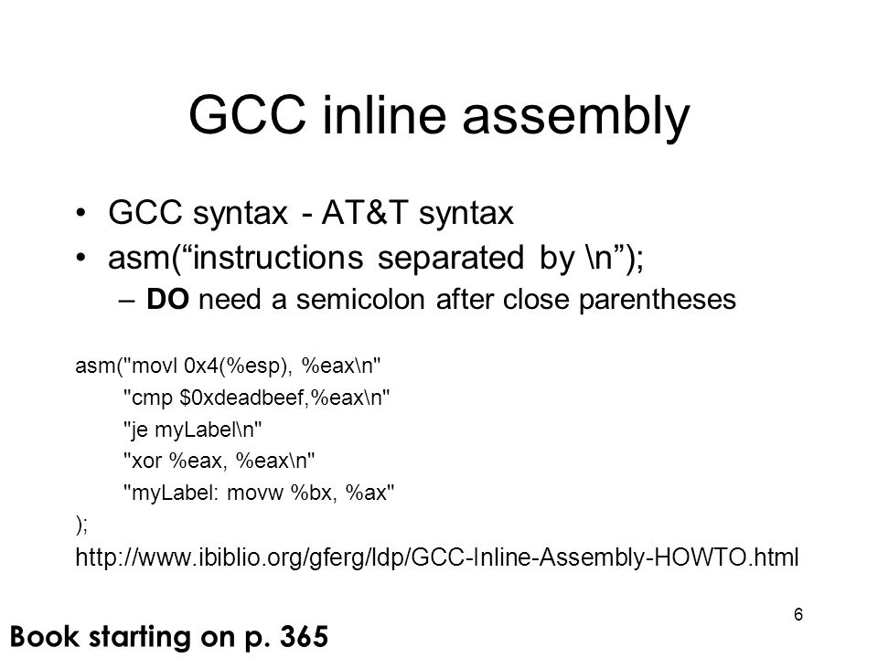 GCC inline assembly GCC syntax - AT&T syntax