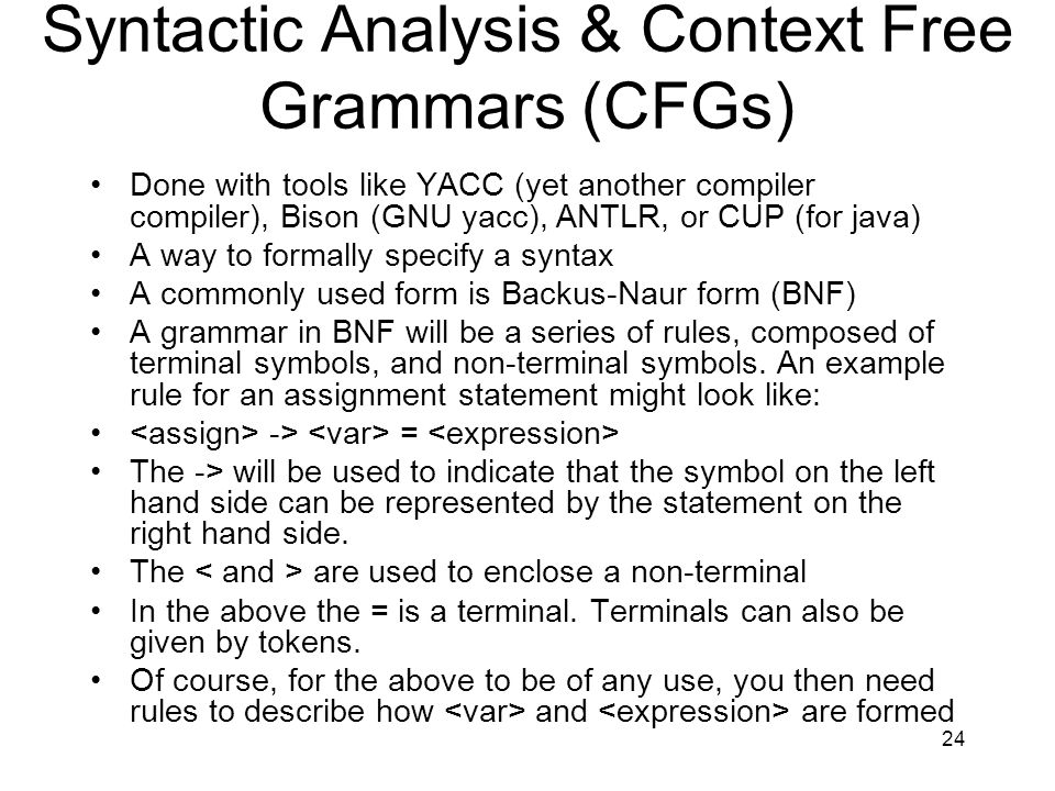 Syntactic Analysis & Context Free Grammars (CFGs)