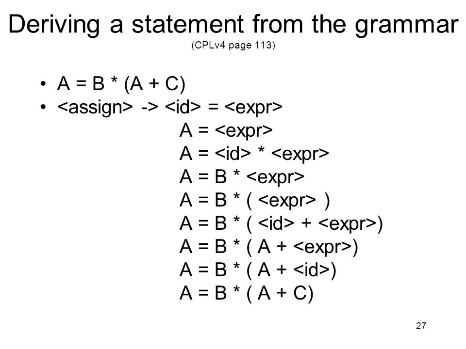 Deriving a statement from the grammar (CPLv4 page 113)