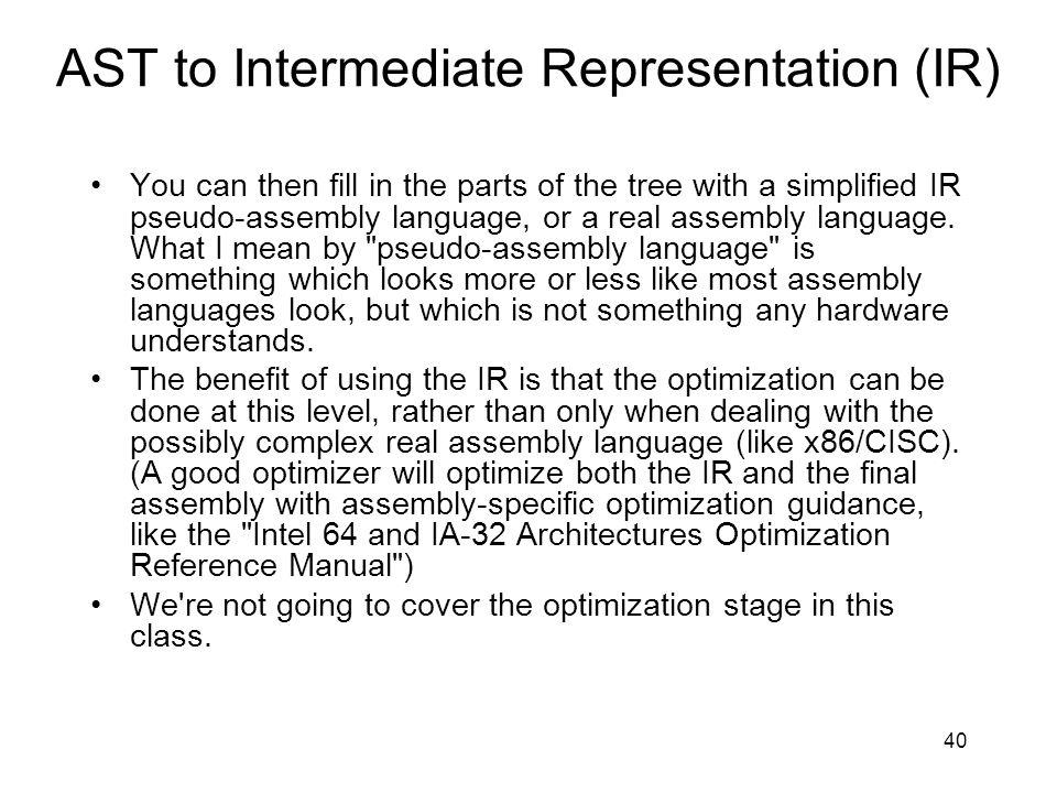AST to Intermediate Representation (IR)