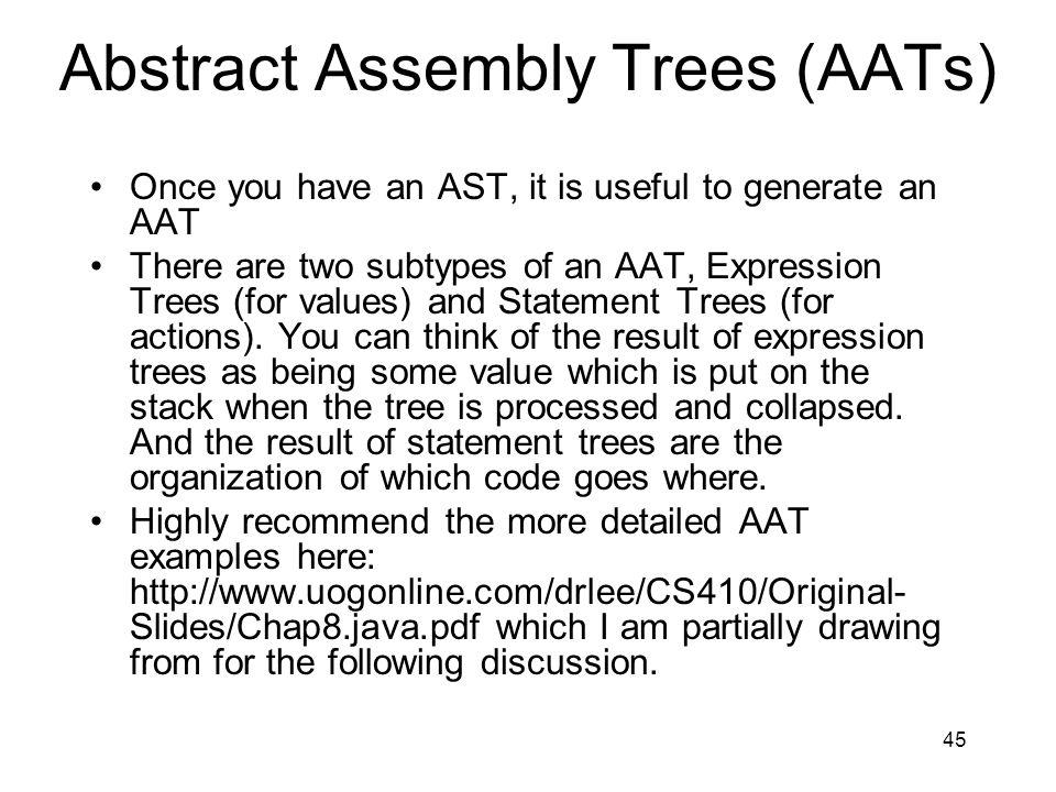 Abstract Assembly Trees (AATs)