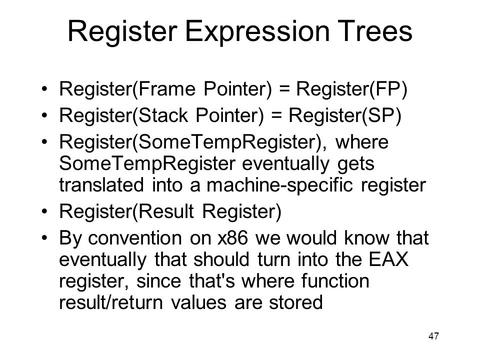 Register Expression Trees
