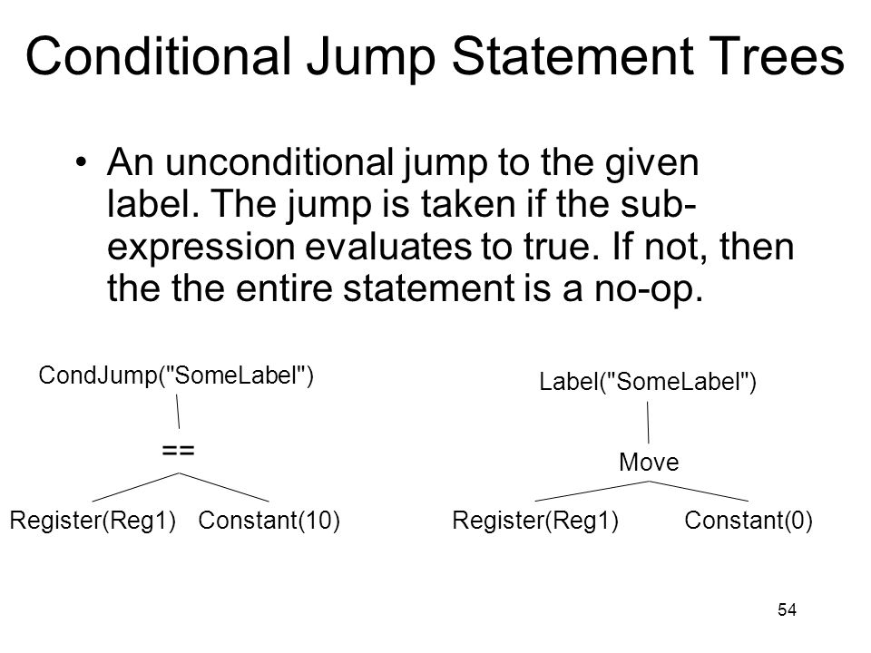 Conditional Jump Statement Trees