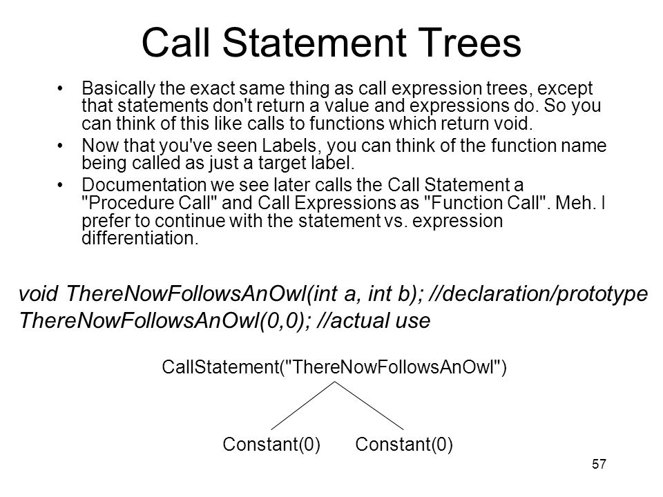 Call Statement Trees